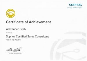 Sophos Certified Sales Consultant